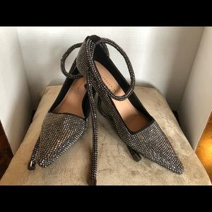 Zara Blingy Ankle Tie,Kitten Angular Heel Pump
